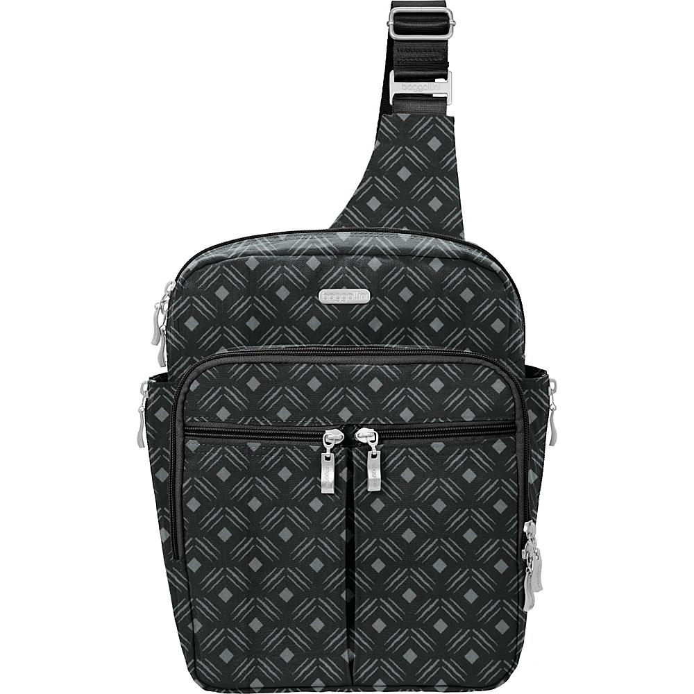 baggallini Messenger Bagg with RFID Black Diamond Print - baggallini Fabric Handbags - Handbags, Fabric Handbags
