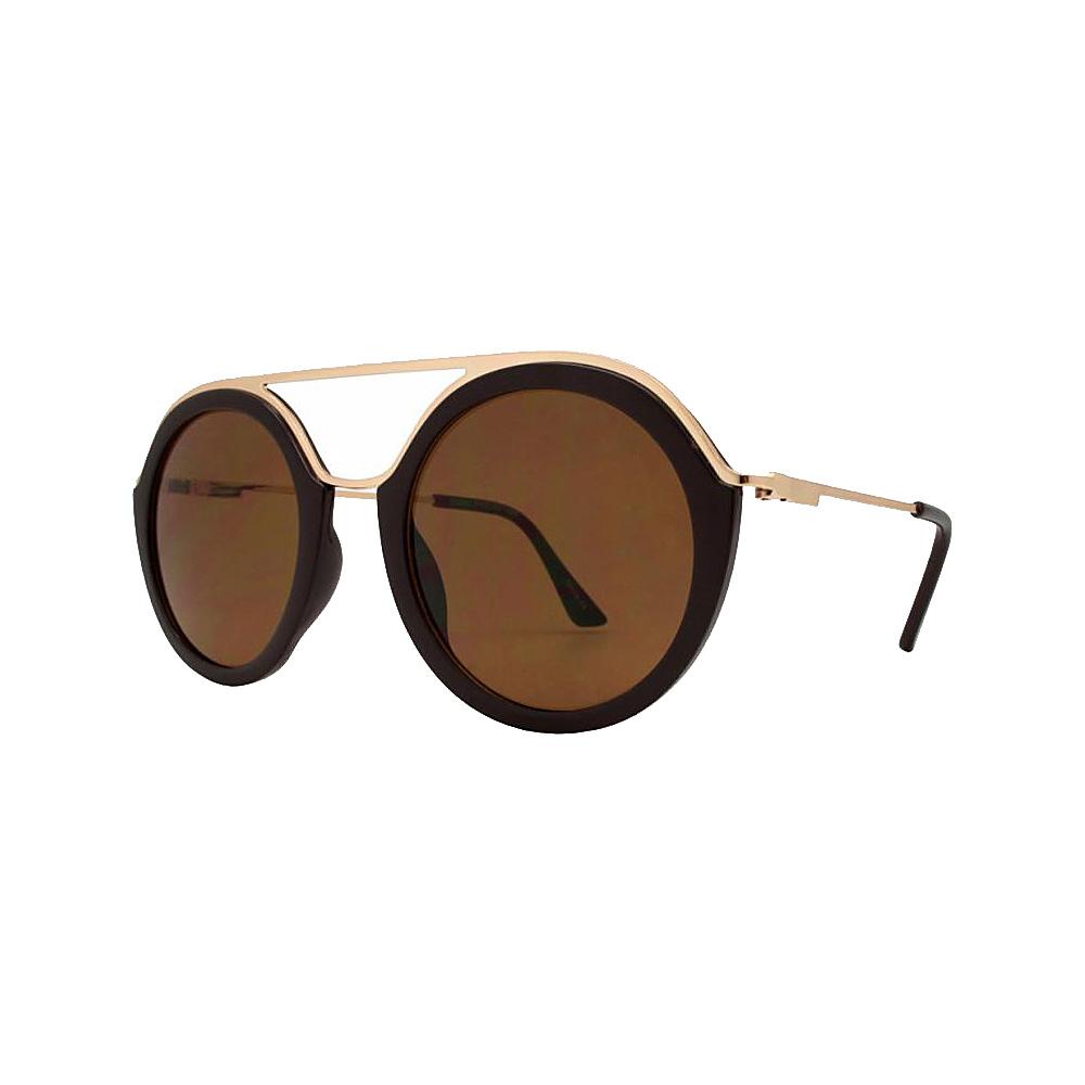 SW Global Classy Double Bridge Round Frame UV400 Sunglasses Brown - SW Global Eyewear - Fashion Accessories, Eyewear