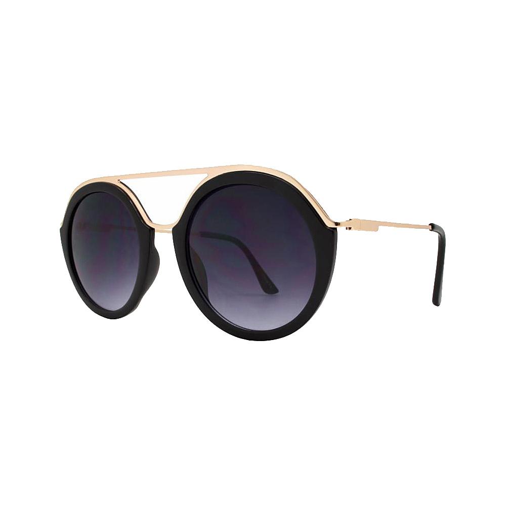 SW Global Classy Double Bridge Round Frame UV400 Sunglasses Black - SW Global Eyewear - Fashion Accessories, Eyewear