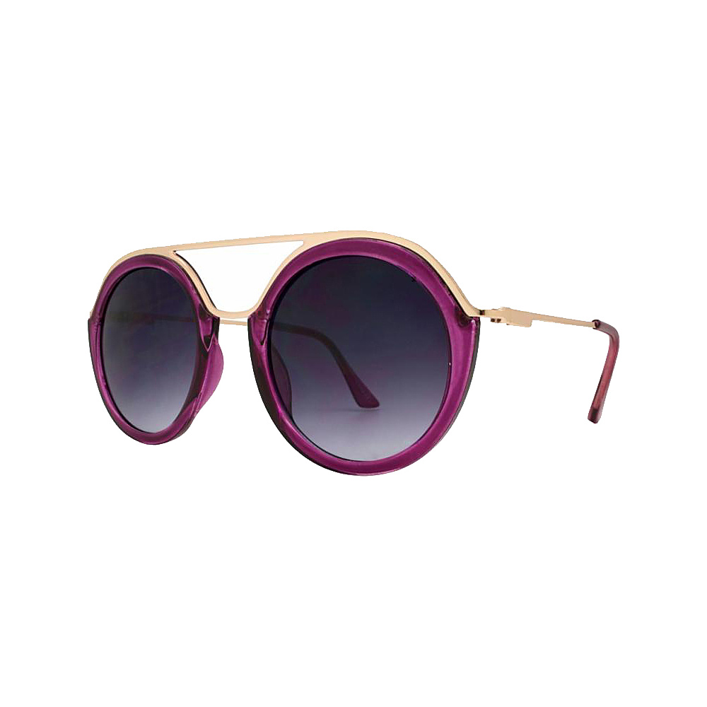 SW Global Classy Double Bridge Round Frame UV400 Sunglasses Purple - SW Global Eyewear - Fashion Accessories, Eyewear