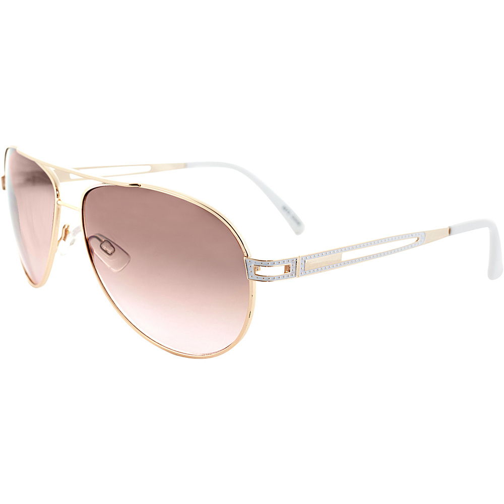 SW Global Tales of a Thousand Nights Double Bar Unisex Aviator Tri-layer UV400 Sunglasses Gold White - SW Global Eyewear - Fashion Accessories, Eyewear