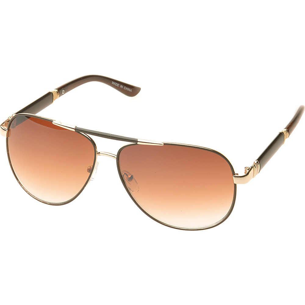 SW Global Ashville Double Bridge Aviator Fashion Sunglasses Brown - SW Global Eyewear - Fashion Accessories, Eyewear
