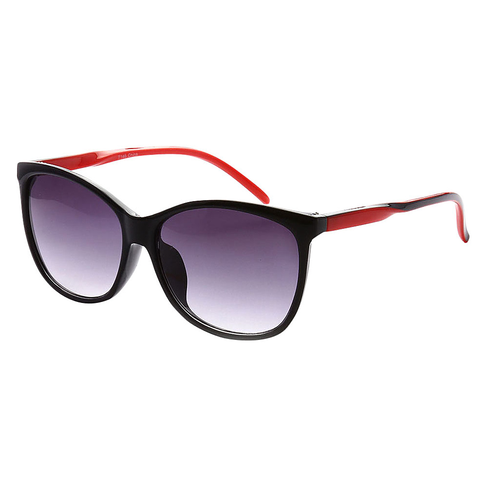 SW Global Addison Full Frame Retro Square UV400 Sunglasses Black Red - SW Global Eyewear - Fashion Accessories, Eyewear
