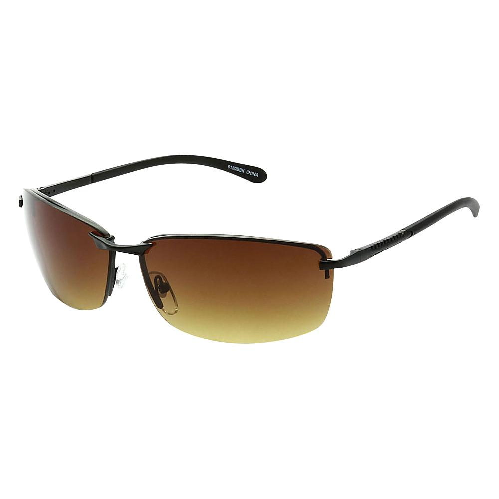 SW Global Frameless Sporty UV400 Sunglasses Black Gold Amber - SW Global Eyewear - Fashion Accessories, Eyewear