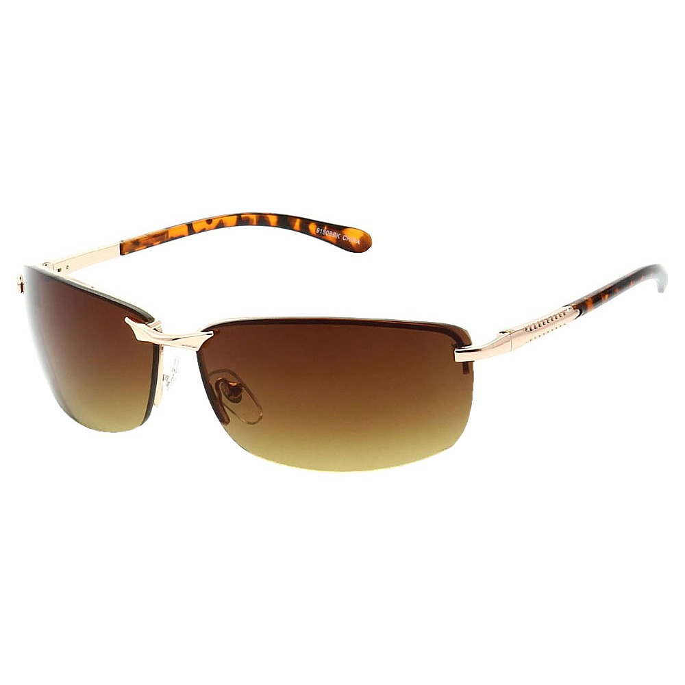 SW Global Frameless Sporty UV400 Sunglasses Leopard Gold Amber - SW Global Eyewear - Fashion Accessories, Eyewear
