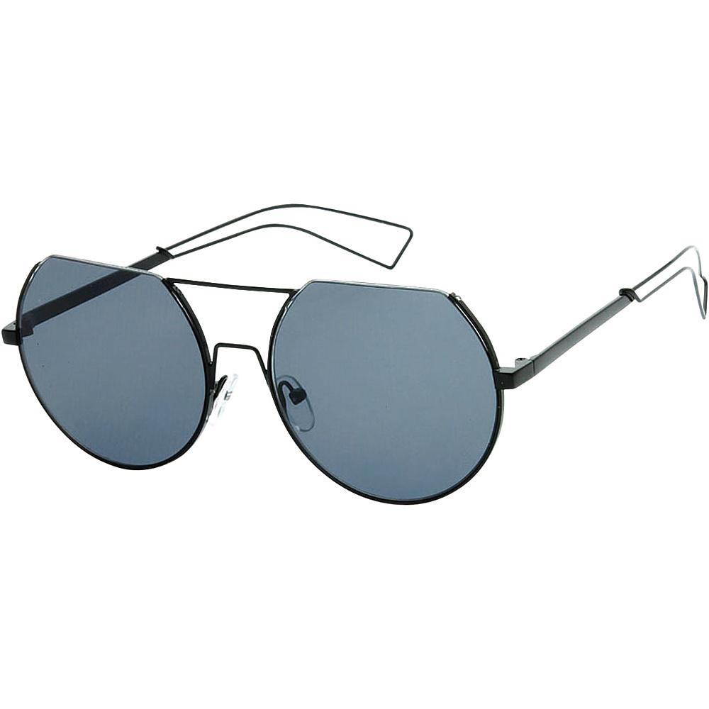 SW Global Trendy Street Fashion Metal Wire 3/4 Round Frame Sunglasses Black - SW Global Eyewear - Fashion Accessories, Eyewear