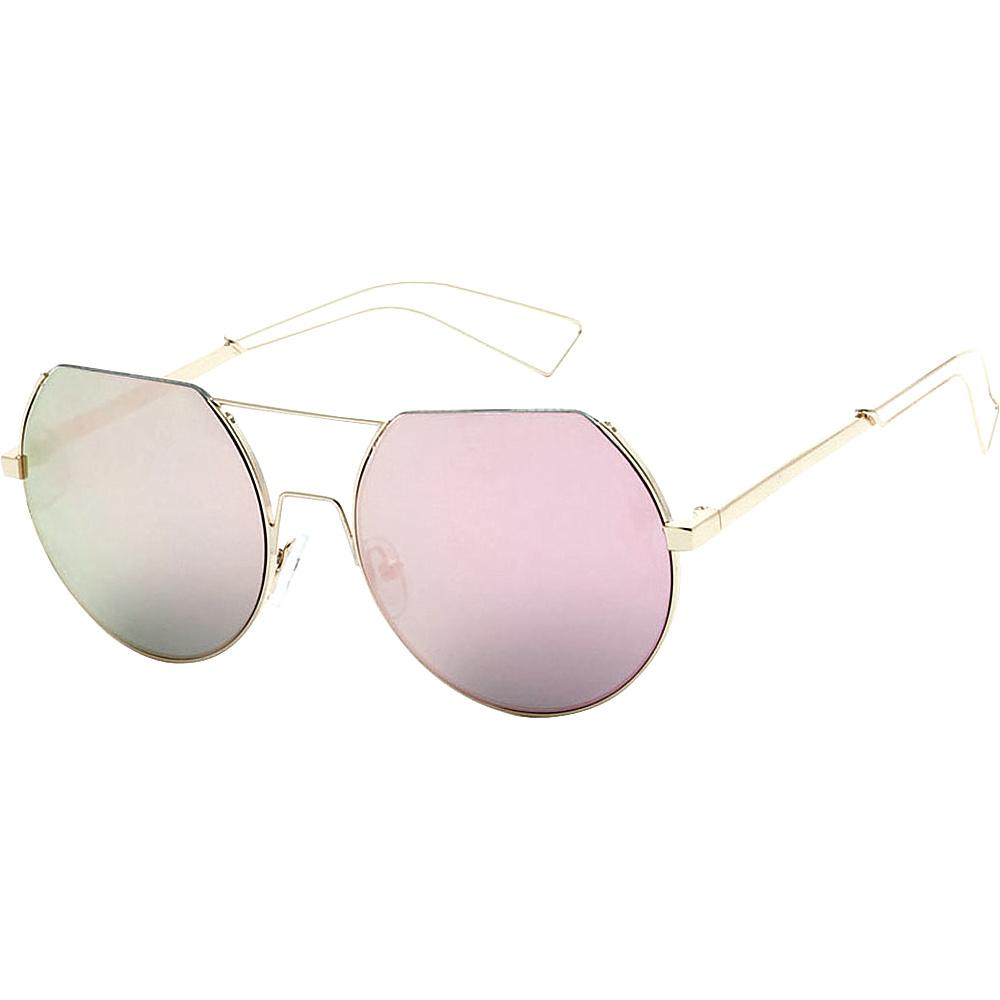 SW Global Trendy Street Fashion Metal Wire 3/4 Round Frame Sunglasses Pink - SW Global Eyewear - Fashion Accessories, Eyewear