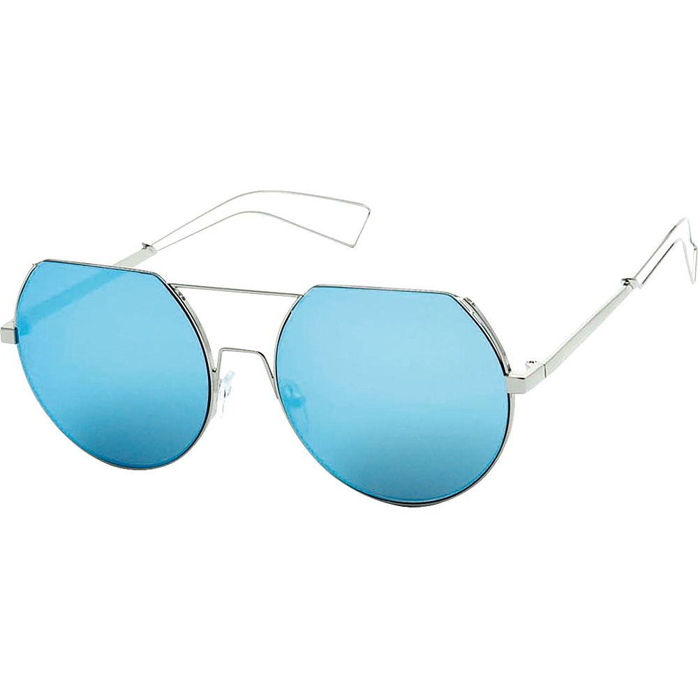 SW Global Trendy Street Fashion Metal Wire 3/4 Round Frame Sunglasses Blue - SW Global Eyewear - Fashion Accessories, Eyewear