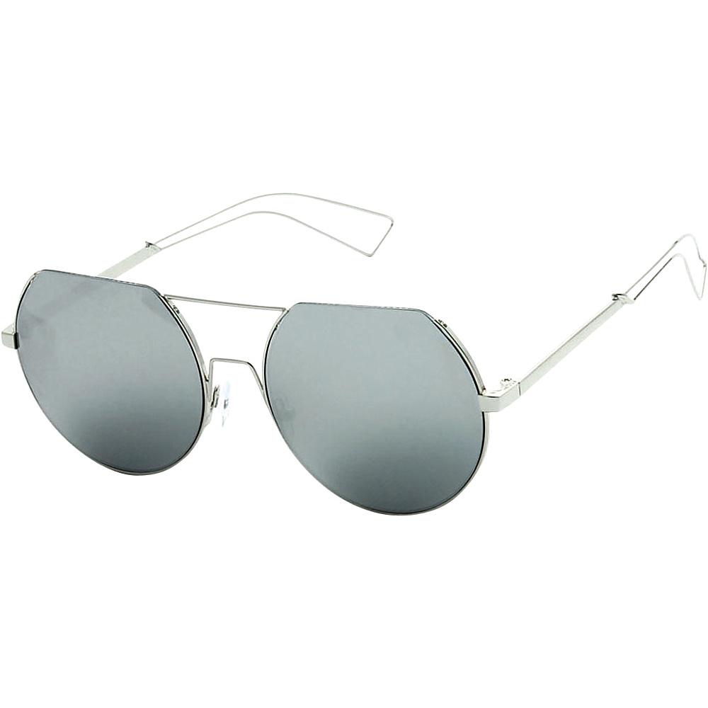 SW Global Trendy Street Fashion Metal Wire 3/4 Round Frame Sunglasses Silver - SW Global Eyewear - Fashion Accessories, Eyewear