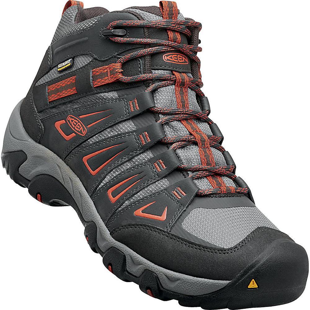 KEEN Mens Oakridge Mid Waterproof Boot 9 - Raven/Burnt Ochre - KEEN Mens Footwear - Apparel & Footwear, Men's Footwear