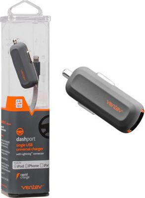 Ventev Dash Port R1240 Car Charger with Apple Lightning Cable Grey - Ventev Portable Batteries & Chargers