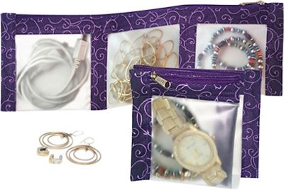 Flanabags ClearPack Pockets  Jewelry Organizer Purple Scroll - Flanabags Packing Aids