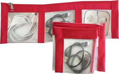Flanabags ClearPack Pockets  Jewelry Organizer Red Nylon - Flanabags Packing Aids