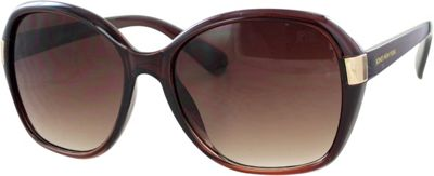 Jones New York Crystal Brown Oversized Frame with Gold Metal Detail and Gradient Brown Lenses Brown/Gradient Brown Lens - Jones New York Eyewear