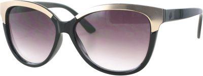 Kay Unger Cateye Gold Accent Sunglasses Black/Gradient Smoke Lens - Kay Unger Eyewear