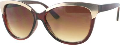 Kay Unger Cateye Gold Accent Sunglasses Crystal Brown/Gradient Brown Lens - Kay Unger Eyewear