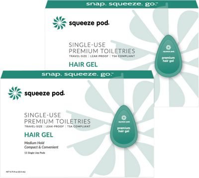 Squeeze Pod Single Use Natural Hair Gel - 30 Single Use Pods Teal - Squeeze Pod Travel Comfort and Health