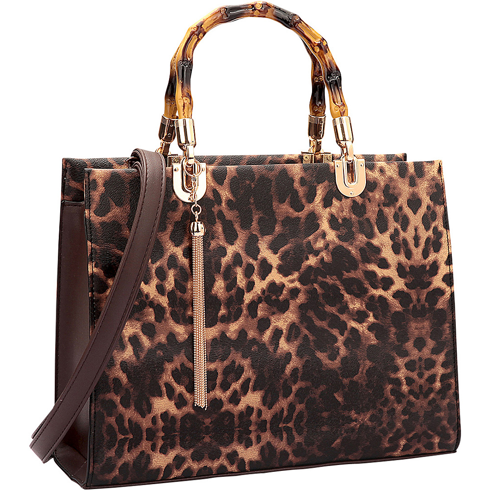 Dasein Bamboo Handle Smooth Leather Medium Satchel Leopard - Dasein Manmade Handbags - Handbags, Manmade Handbags