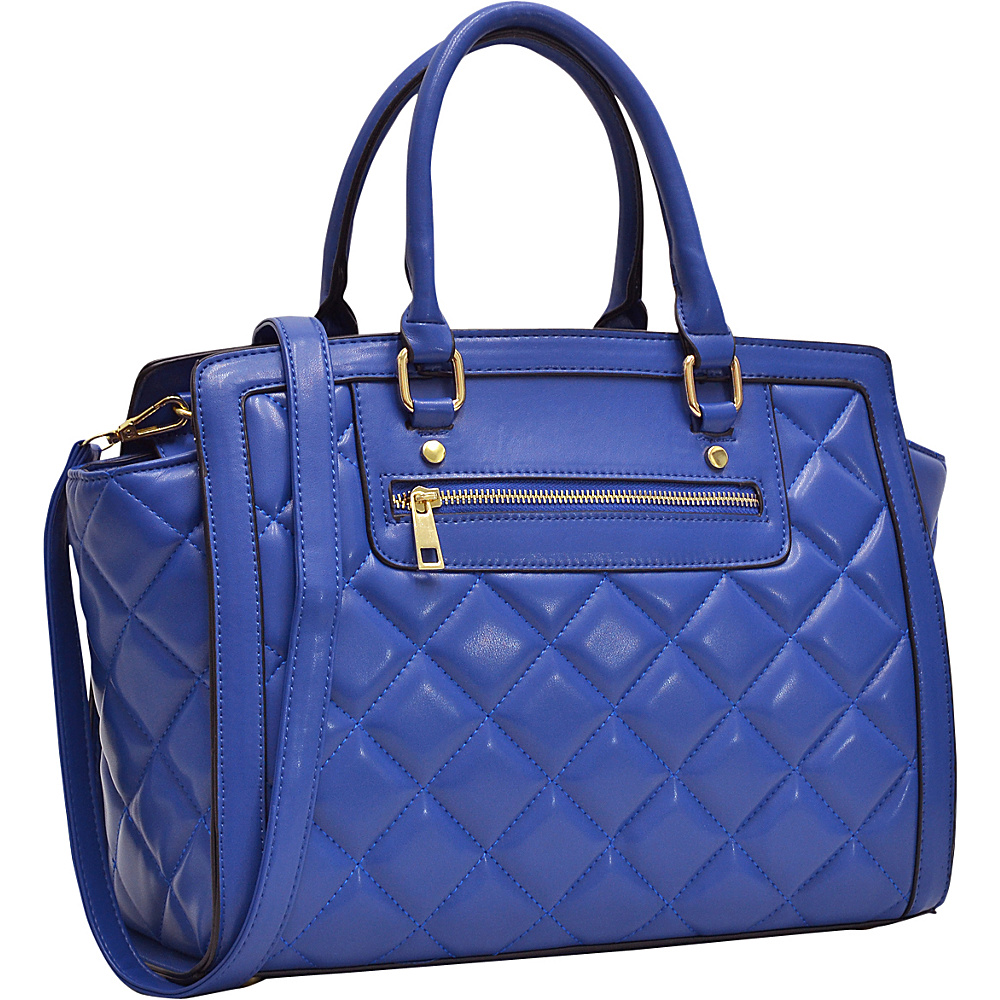 Dasein Quilted Satchel with Front Zipper Blue - Dasein Manmade Handbags - Handbags, Manmade Handbags