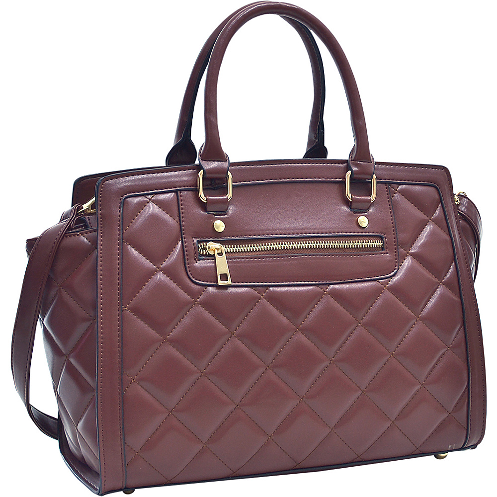 Dasein Quilted Satchel with Front Zipper Coffee - Dasein Manmade Handbags - Handbags, Manmade Handbags