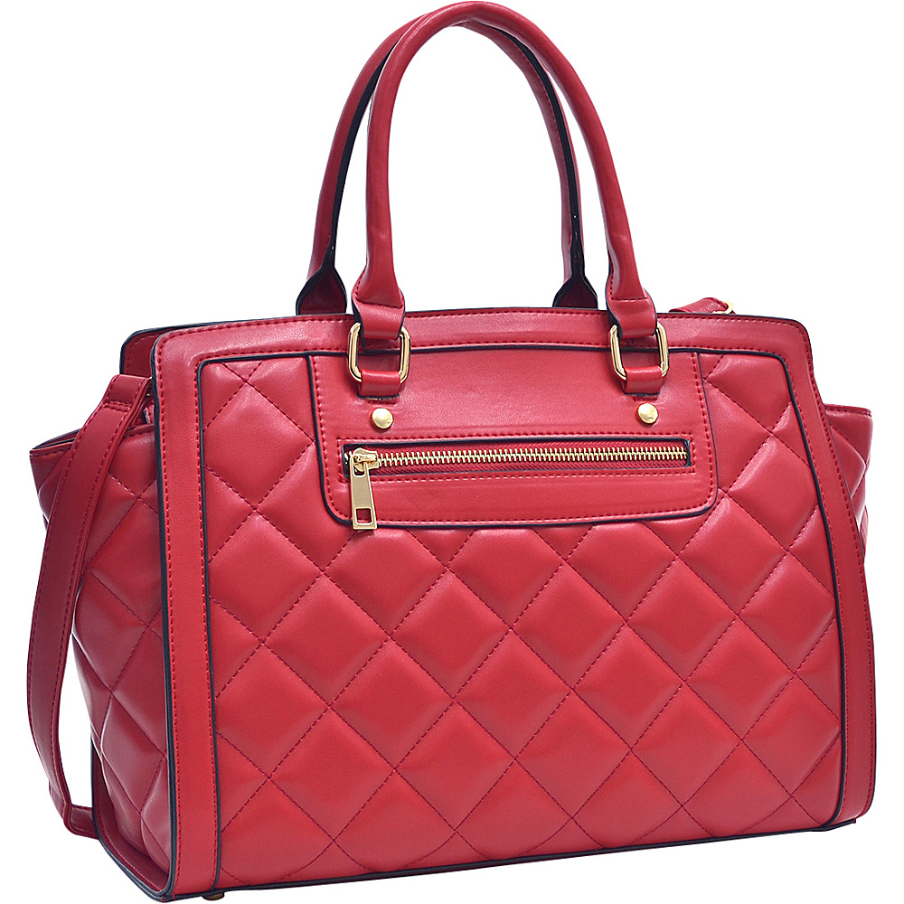 Dasein Quilted Satchel with Front Zipper Red - Dasein Manmade Handbags - Handbags, Manmade Handbags