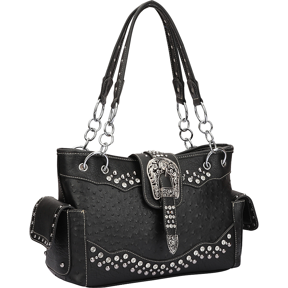 Dasein Western Style Ostrich Rhinestone Buckle Shoulder Bag Black - Dasein Manmade Handbags - Handbags, Manmade Handbags