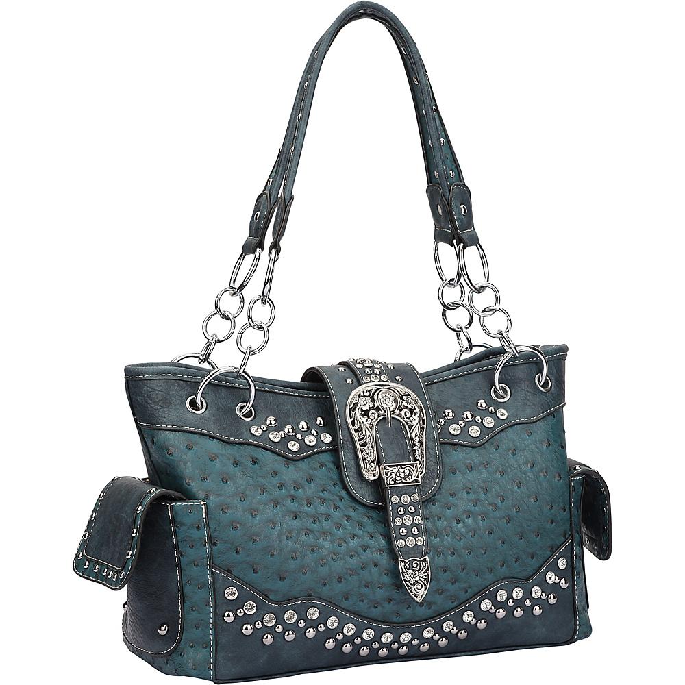 Dasein Western Style Ostrich Rhinestone Buckle Shoulder Bag Ocean - Dasein Manmade Handbags - Handbags, Manmade Handbags