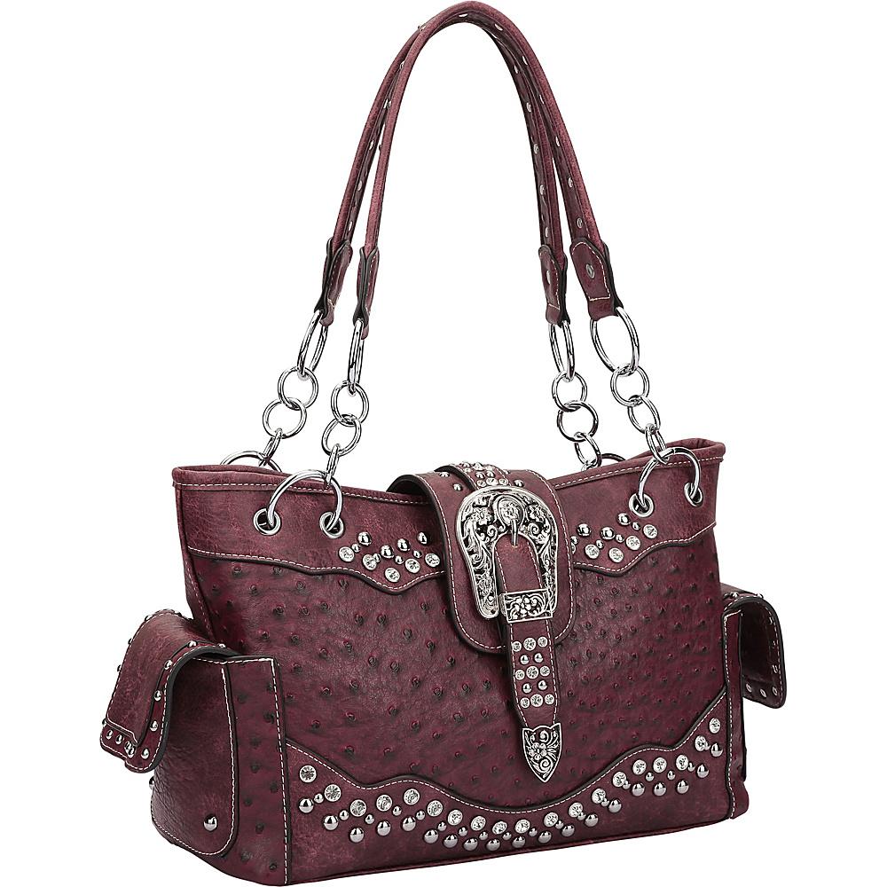 Dasein Western Style Ostrich Rhinestone Buckle Shoulder Bag Wine - Dasein Manmade Handbags - Handbags, Manmade Handbags