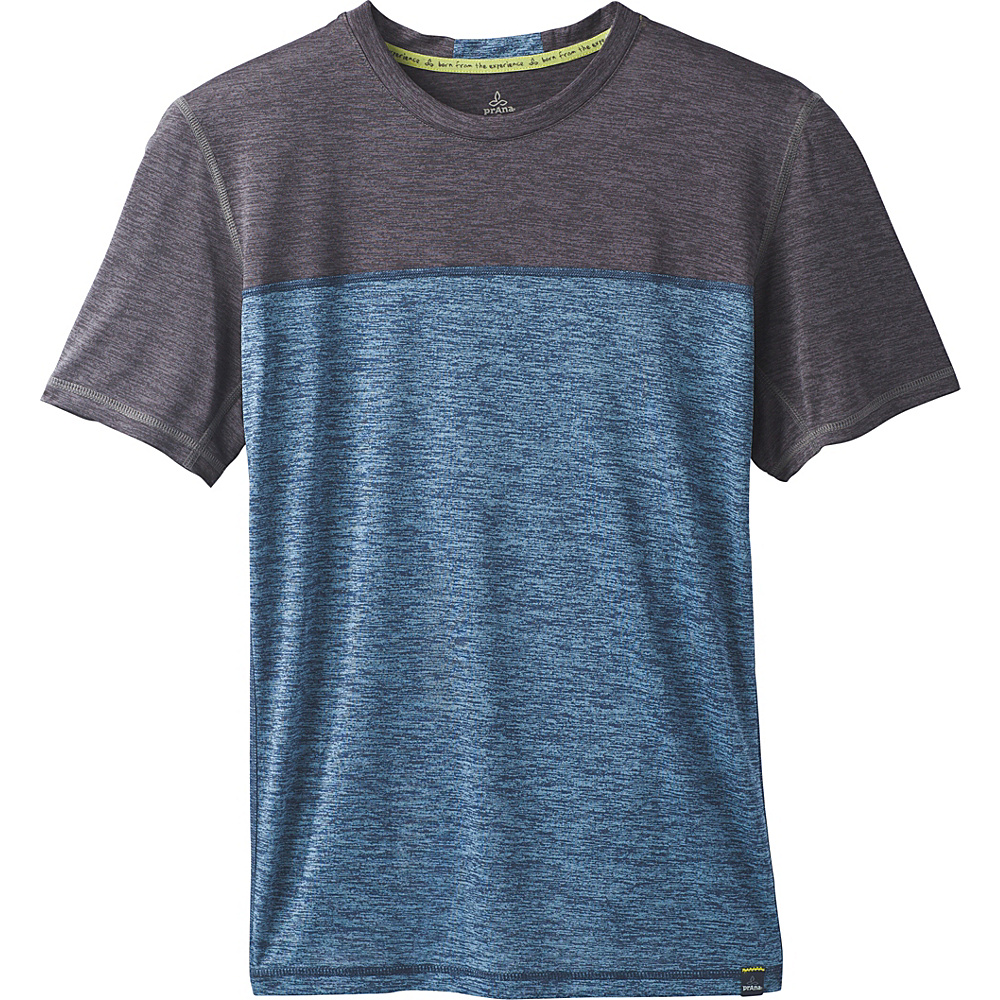 PrAna Hardesty Colorblock T-Shirt L - Dusky Skies Color Block - PrAna Mens Apparel - Apparel & Footwear, Men's Apparel