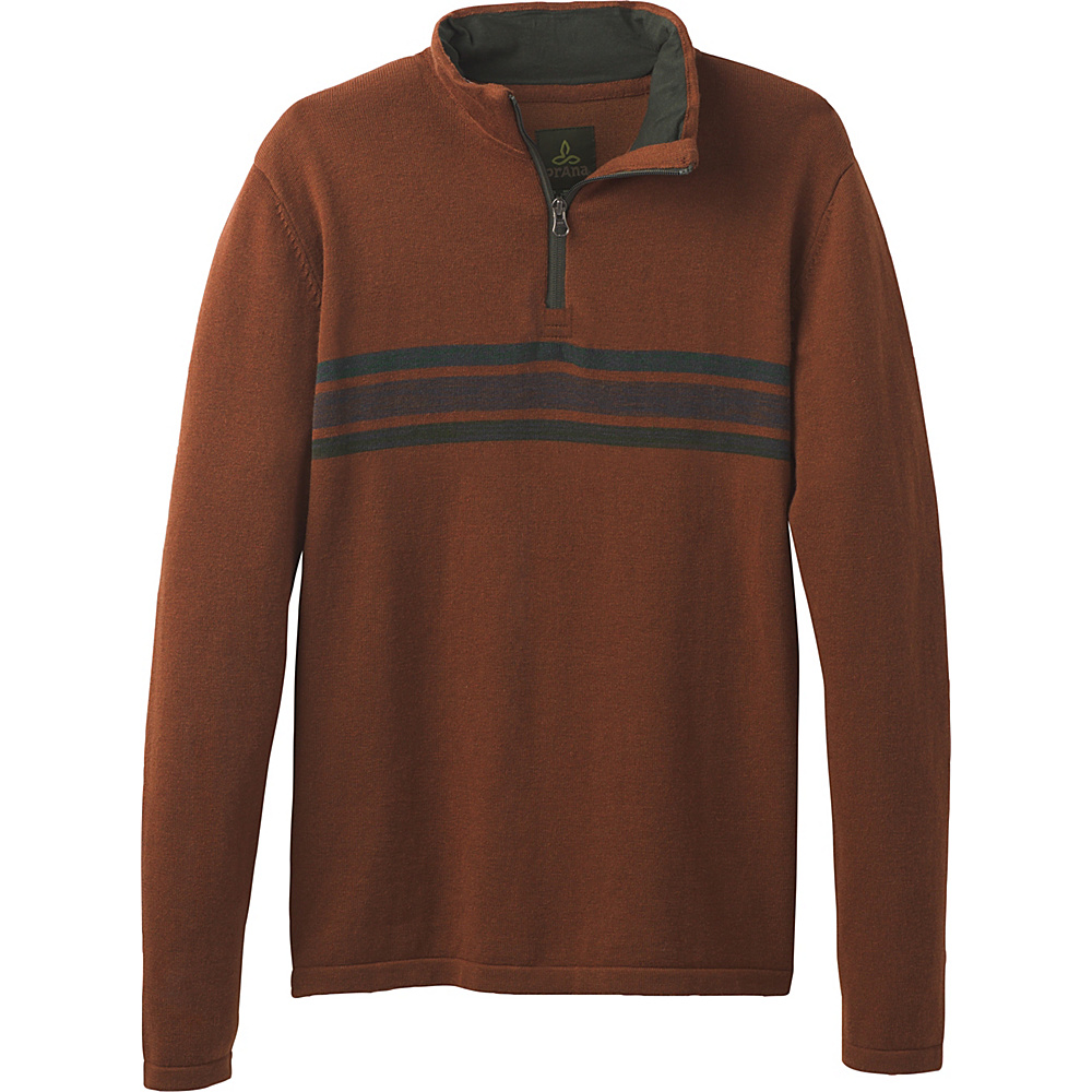 PrAna Holberg 1/4 Zip Sweater M - Auburn - PrAna Mens Apparel - Apparel & Footwear, Men's Apparel