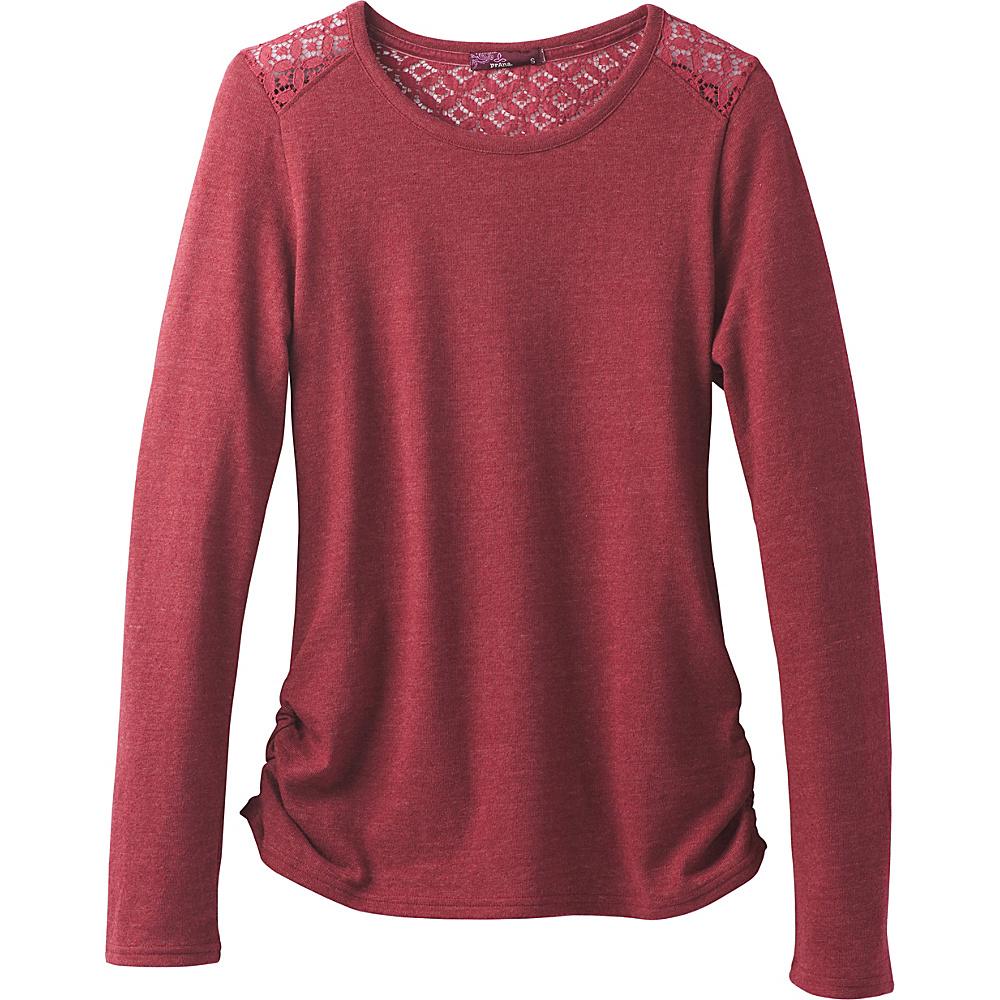 PrAna Isadora Ballet Neck Shirt S - Woodland Red - PrAna Mens Apparel - Apparel & Footwear, Men's Apparel