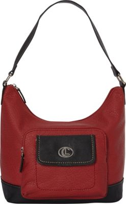 Aurielle-Carryland Flip Flap Bucket Hobo Red/Black - Aurielle-Carryland Manmade Handbags
