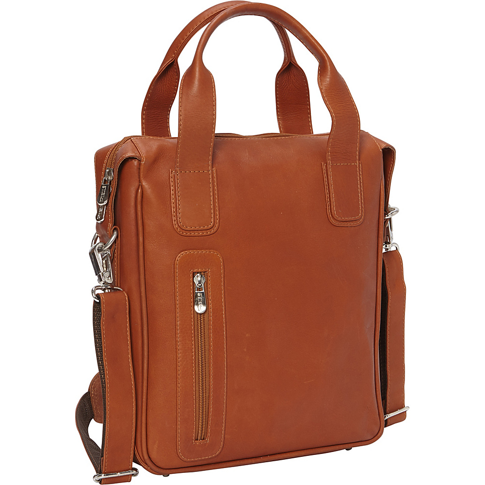 Piel Vertical Laptop Briefcase Saddle - Piel Non-Wheeled Business Cases - Work Bags & Briefcases, Non-Wheeled Business Cases