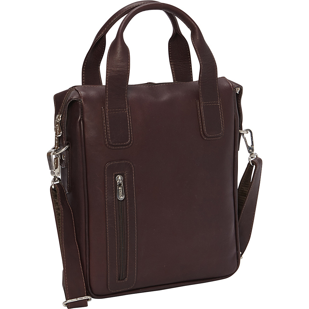 Piel Vertical Laptop Briefcase Chocolate - Piel Non-Wheeled Business Cases - Work Bags & Briefcases, Non-Wheeled Business Cases