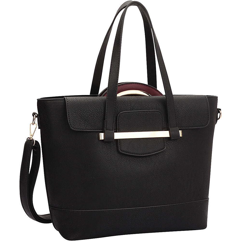 Dasein 2 in 1 Combination Mini Satchel and Tote Black/Wine - Dasein Manmade Handbags - Handbags, Manmade Handbags
