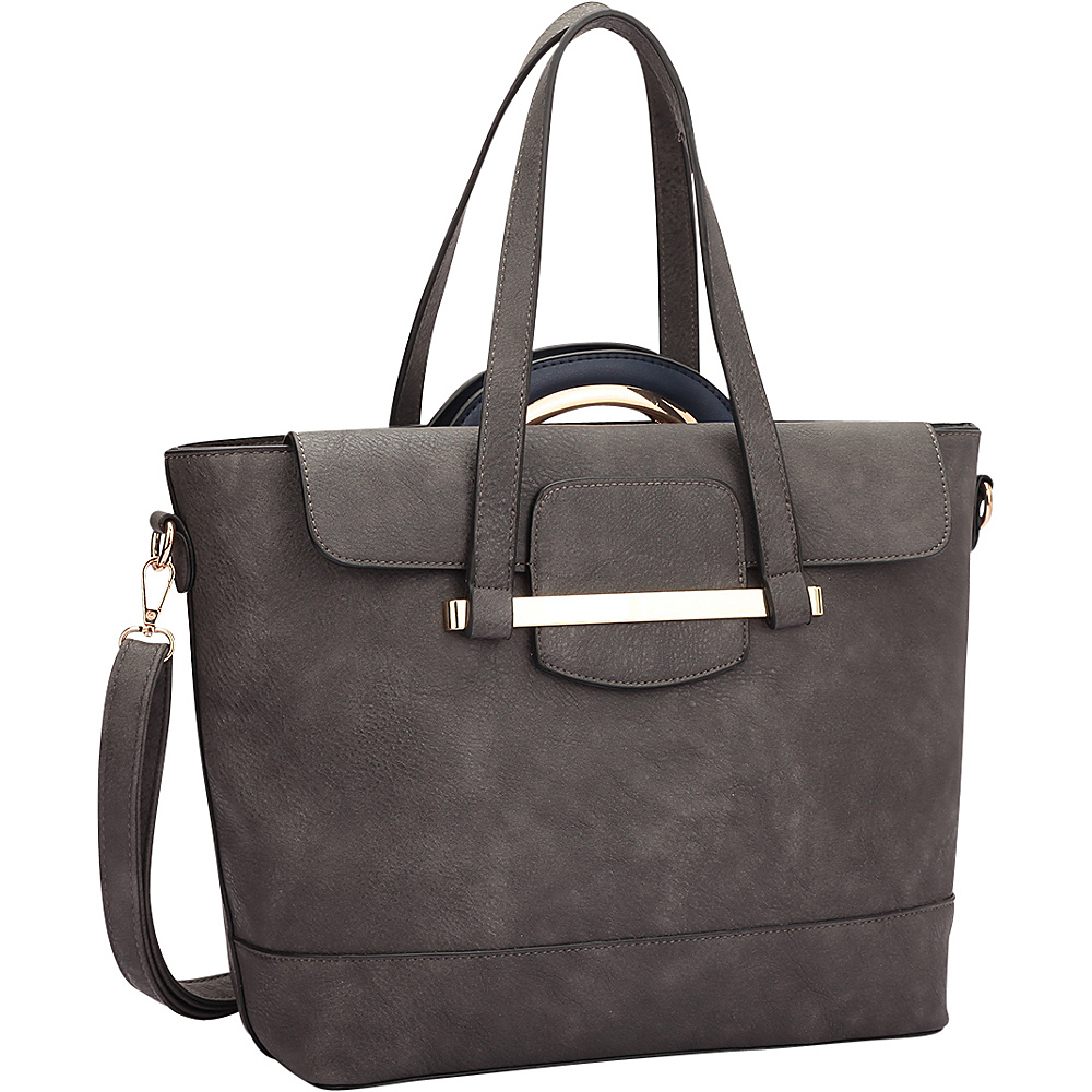 Dasein 2 in 1 Combination Mini Satchel and Tote Grey/Navy blue - Dasein Manmade Handbags - Handbags, Manmade Handbags