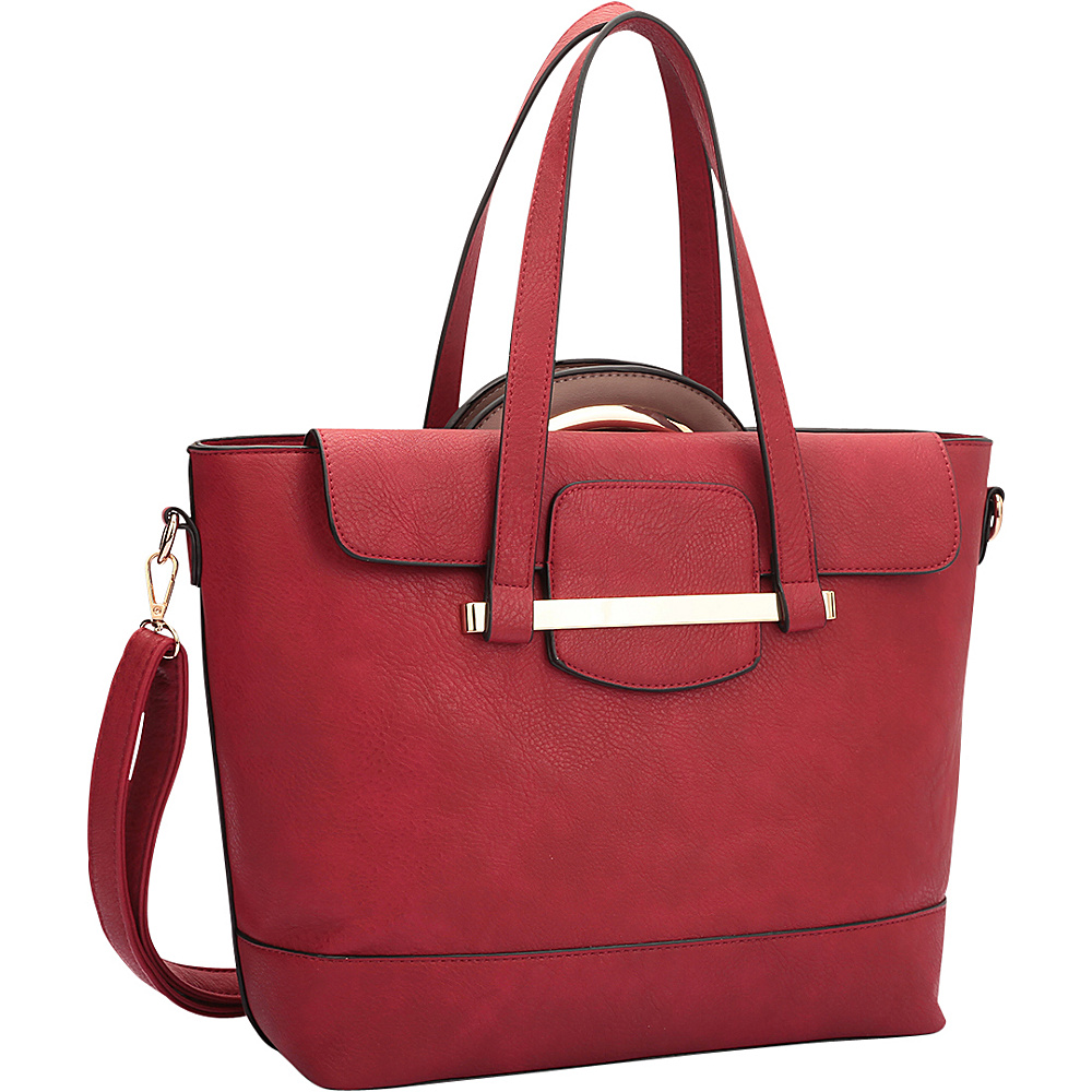 Dasein 2 in 1 Combination Mini Satchel and Tote Red/Taupe - Dasein Manmade Handbags - Handbags, Manmade Handbags