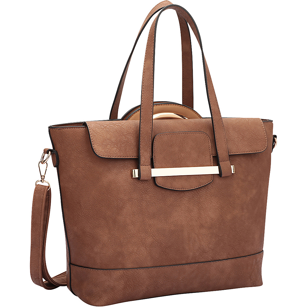 Dasein 2 in 1 Combination Mini Satchel and Tote Brown/Tan - Dasein Manmade Handbags - Handbags, Manmade Handbags
