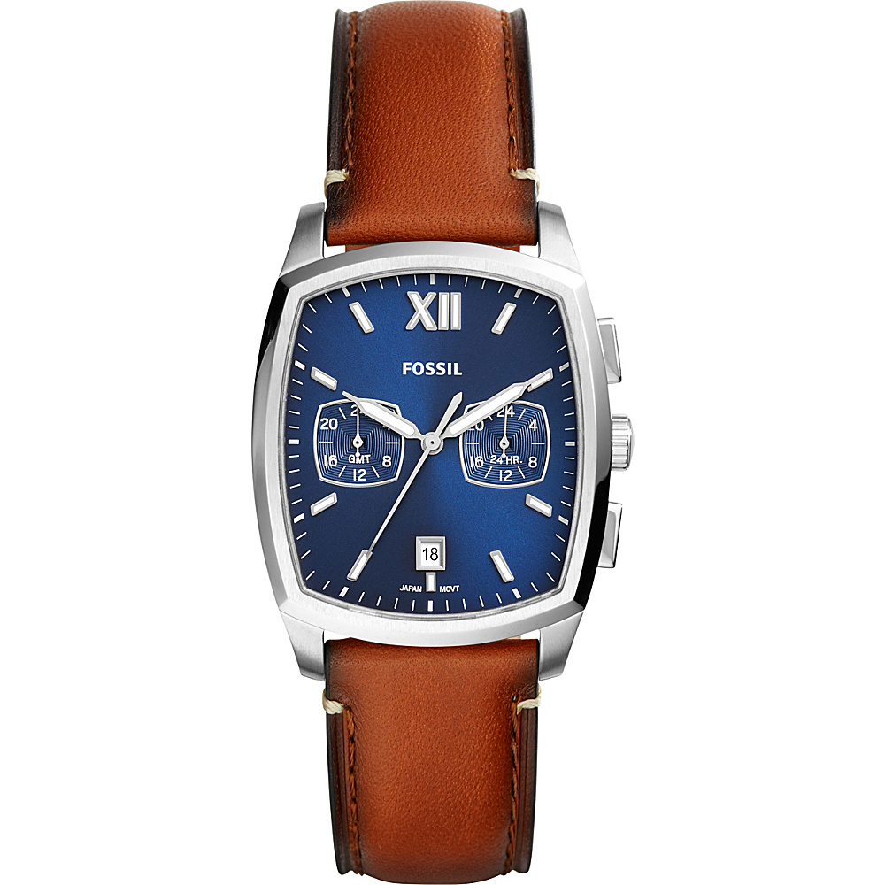 Fossil Knox Dual Time Tan Leather Watch Brown - Fossil Watches - Fashion Accessories, Watches