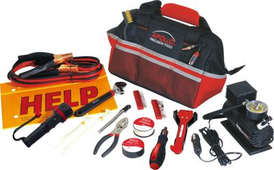 Apollo Tools 53 Piece Roadside/Emergency Tool Kit with Air Compressor Red - Apollo Tools Sports Accessories