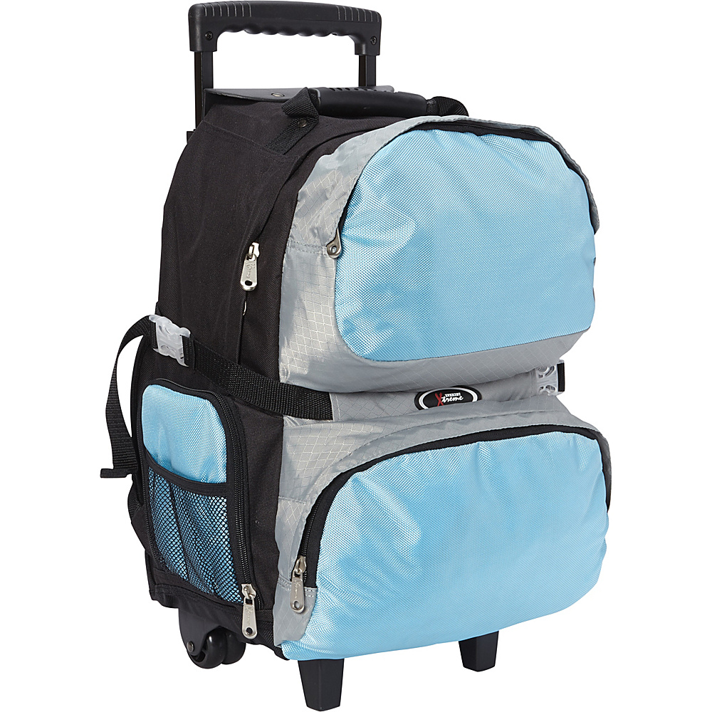 Everest Rolling Student Backpack Turquoise/Silver/Black - Everest Wheeled Backpacks - Backpacks, Wheeled Backpacks