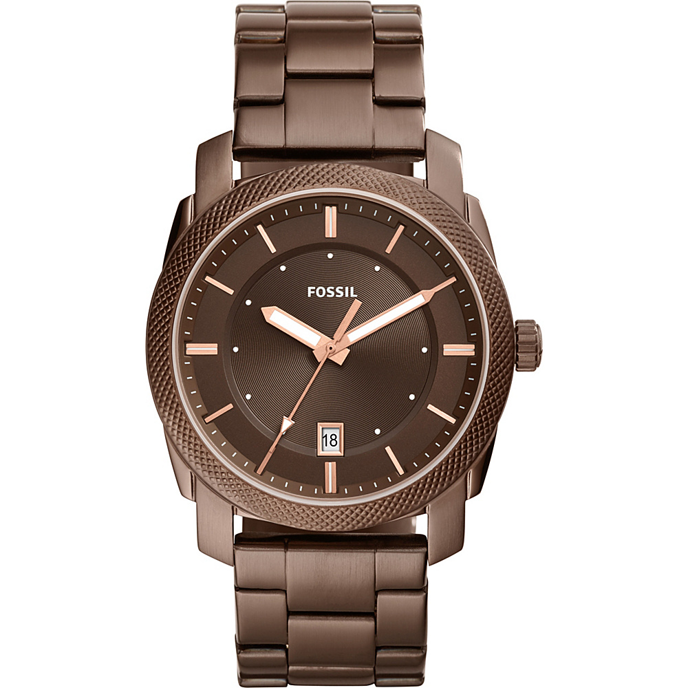 Fossil Machine Three-Hand Date Stainless Steel Watch Brown - Fossil Watches - Fashion Accessories, Watches