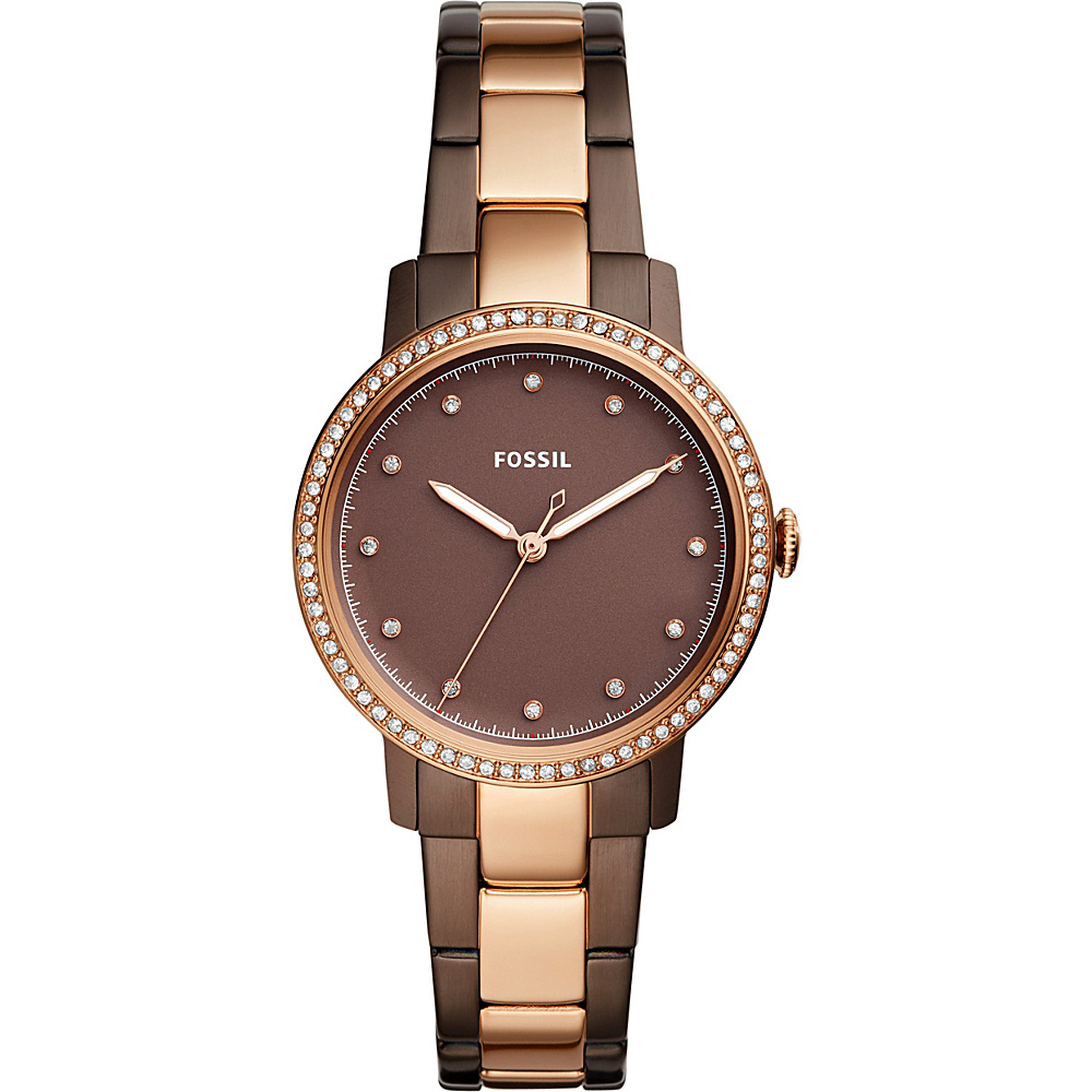 Fossil Neely Three-Hand Two-Tone Stainless Steel Watch Brown - Fossil Watches - Fashion Accessories, Watches