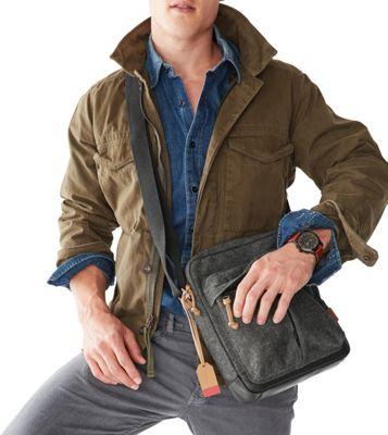 Fossil Defender NS City Bag Grey - Fossil Messenger Bags
