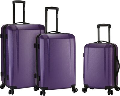 Kensie Luggage 3 Piece Expandable Hardside Spinner Luggage Set Purple - Kensie Luggage Luggage Sets