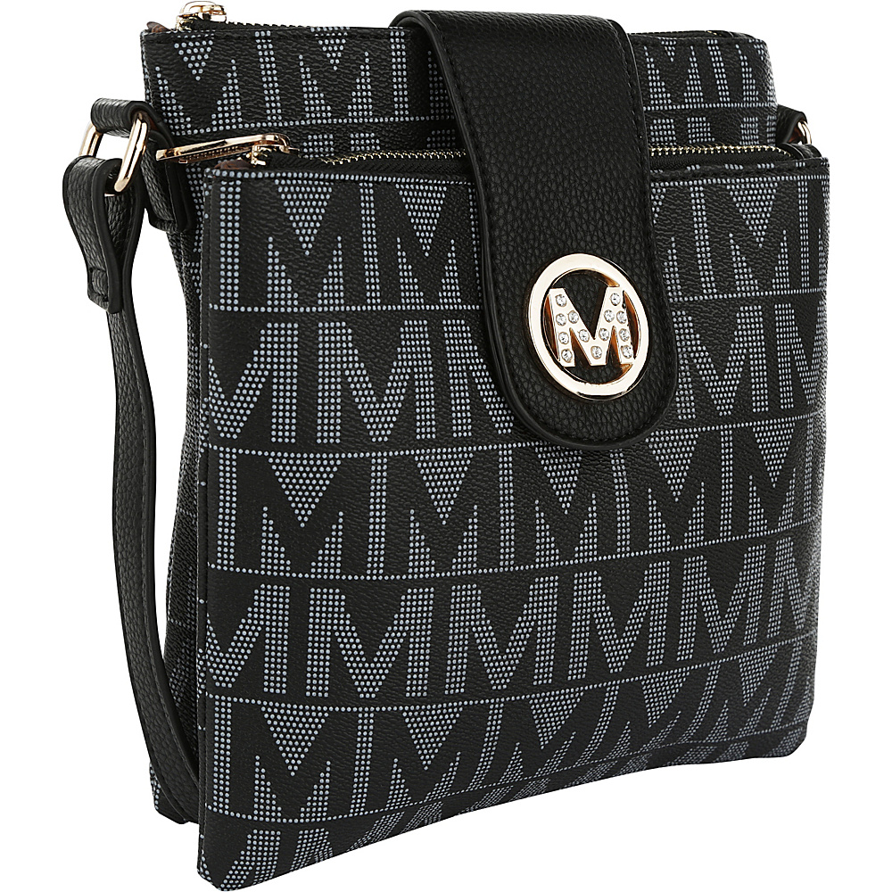 MKF Collection by Mia K. Farrow Denizli Milan M Signature Crossbody Black - MKF Collection by Mia K. Farrow Manmade Handbags - Handbags, Manmade Handbags