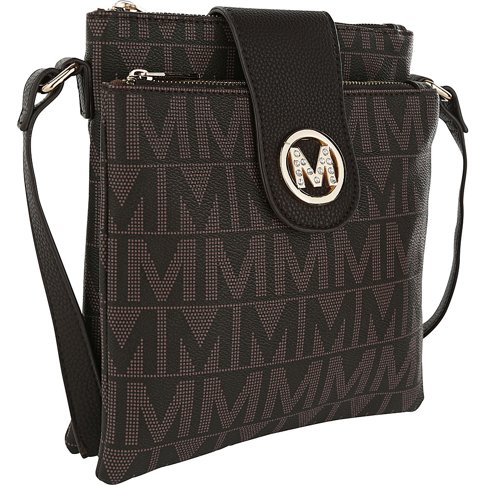 MKF Collection by Mia K. Farrow Denizli Milan M Signature Crossbody Chocolate - MKF Collection by Mia K. Farrow Manmade Handbags - Handbags, Manmade Handbags