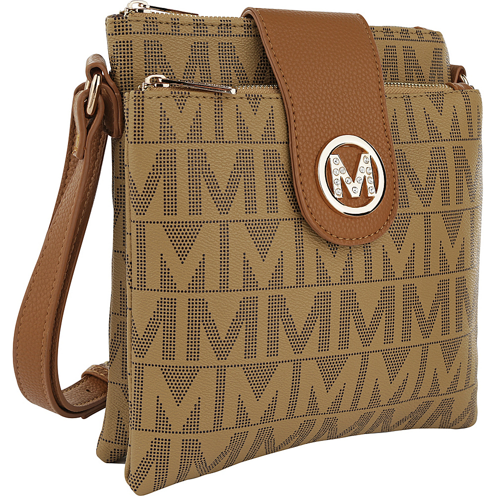 MKF Collection by Mia K. Farrow Denizli Milan M Signature Crossbody Taupe - MKF Collection by Mia K. Farrow Manmade Handbags - Handbags, Manmade Handbags