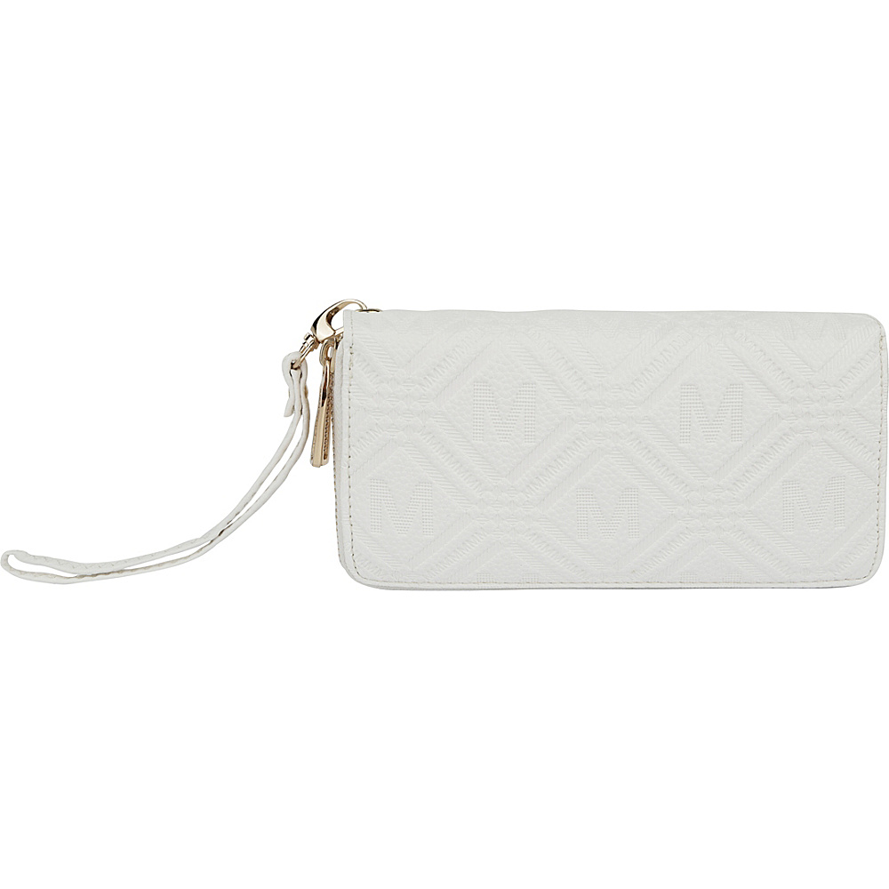 MKF Collection by Mia K. Farrow Embossed M Signature Wallet White - MKF Collection by Mia K. Farrow Womens Wallets - Women's SLG, Women's Wallets