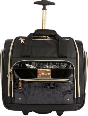 BEBE Danielle Under the Seat Carry-On Rolling Tote Black Croc - BEBE Softside Carry-On